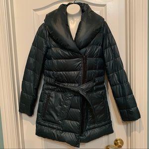 Kenneth Cole Coat Down Asymmetrical Zip Green S